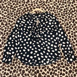 J CREW brushstroke blouse, navy/white
